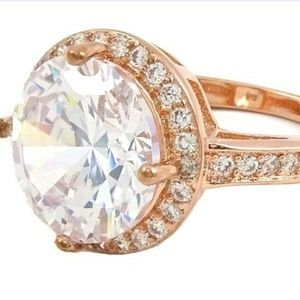 Savvy Cie Sz10 Halo Ring 18K Rose Gold Plated CZ
